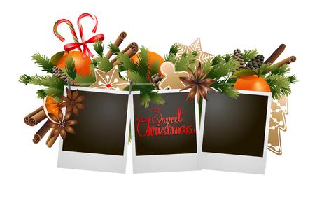 Noël conception de conifères avec des bonbons. carte de vacances Banque d'images - 48635822