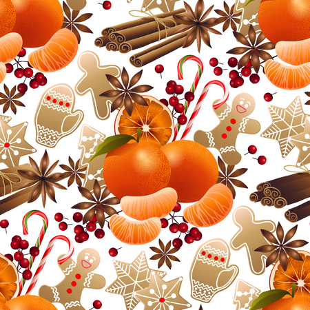mandarin: Christmas design with gingerbread, mandarin and cinnamon.
