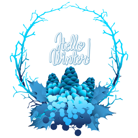 snowflacke: Winter frozen wreath. Holly leaves and berries, coniferous branches and cones in blue colors.  Illustration
