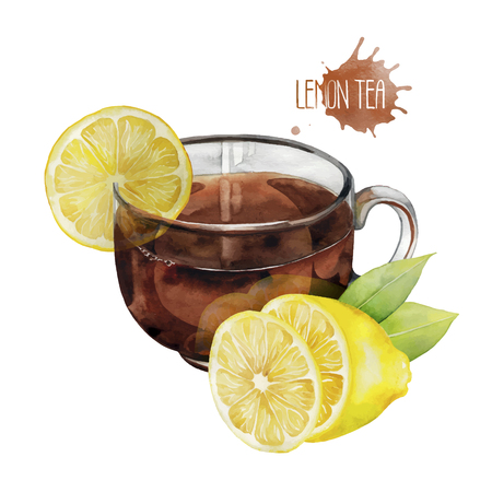 black tea: Watercolor  glass cup of black tea with slice of lemon isolated on white background Illustration