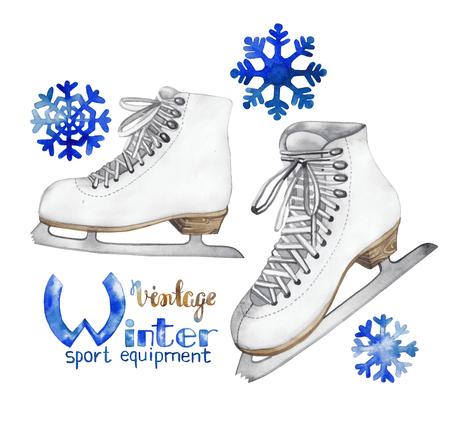 ice skates: Vintage watercolor ice skates isolated on white background Stock Photo