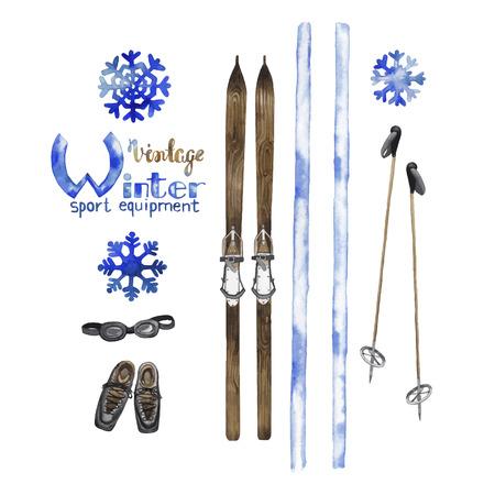 nostalgia: Set of watercolor vintage ski equipment isolated on white background