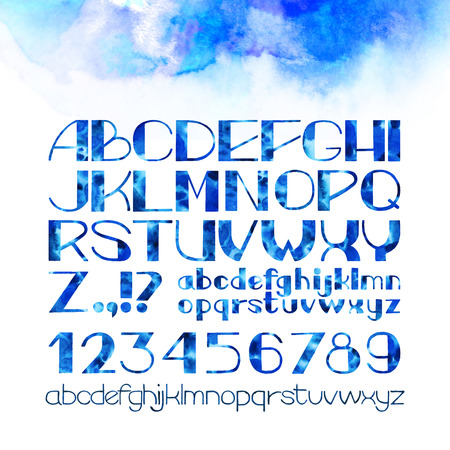 lowercase: Hand drawn watercolor alphabet.  Uppercase and lowercase  letters isolated on white background