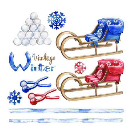 ice slide: Watercolor winter activities. Snowballs and  vintage sledges isolated on white background