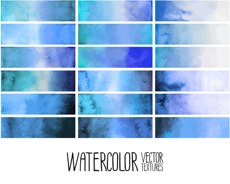 admiral: Blue watercolor gradient rectangles. Design elements isolated on white background