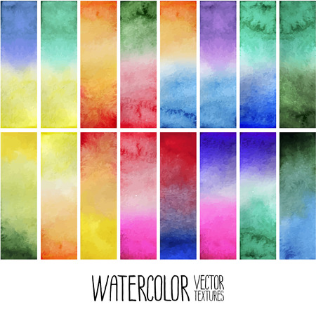 degrade: Watercolor gradient rectangles. Multi color design elements isolated on white background. Easy to cut