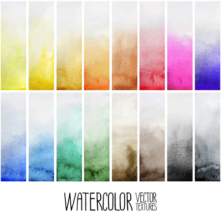 degrade: Watercolor gradient rectangles. Multi color design elements isolated on white background