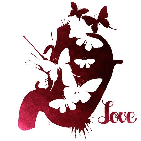 donna farfalla: farfalle acquerello nello stomaco. design romantico isolato su sfondo bianco