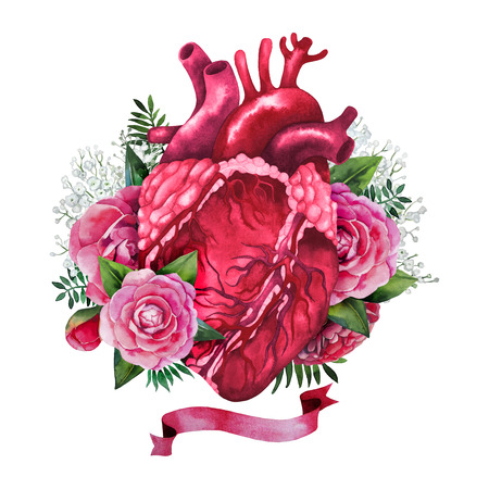 realistically: Watercolor realistically painted heart with floral design Stock Photo