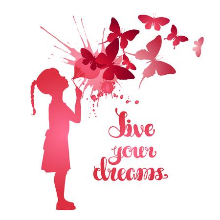jolie petite fille: Petite fille soufflant papillons. vecteur Aquarelle illustration isolé sur fond blanc
