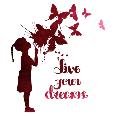 border silhouette: Little girl blowing out butterflies. Watercolor vector illustration isolated on white background