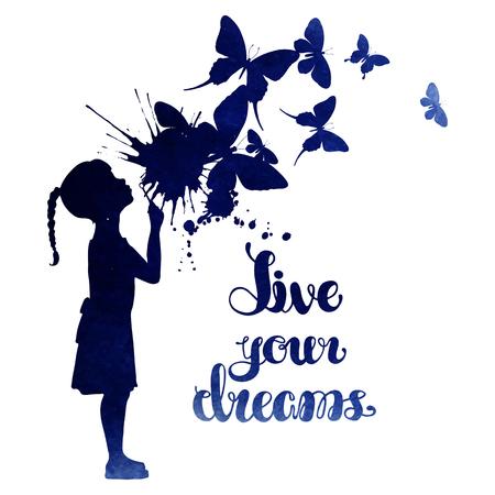 Bambina che spegne le farfalle. Acquarello illustrazione vettoriale isolato su sfondo bianco