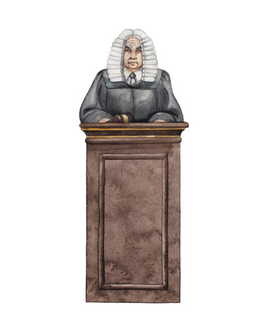 court judge: Watercolor judge in a wig isolated on white background