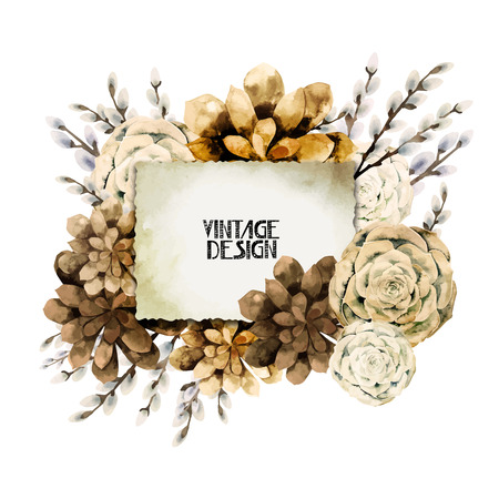 slr camera: Watercolor vintage card with sepia floral design. Retro SLR camera in leather case  among succulents and pussy-willow branches. Design element isolated on white background