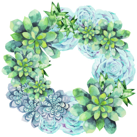 Watercolor succulent wreath isolated on white background. Cute floral element. Wedding design