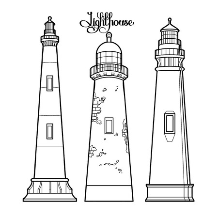 coloring book page: Graphic lighthouses set. three variants of the architectural form. Graphic vector illustration isolated on white background. Coloring book page design