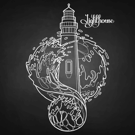Lighthouse among the storm waves. Graphic vector illustration isolated on chalkboard