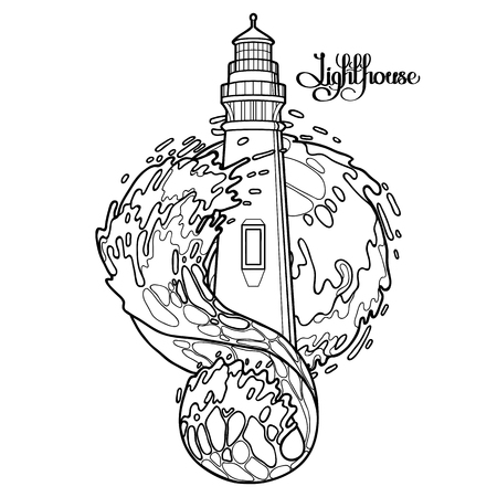 Lighthouse among the storm waves. Graphic vector illustration isolated on white background. Coloring book page design Stock Illustratie