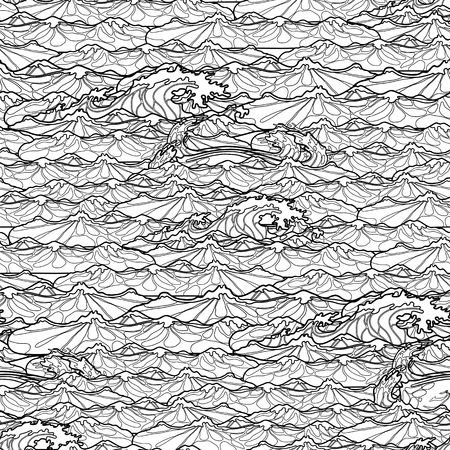 Ocean storm waves seamless pattern drawn in line art style. Tsunami. Coloring book page design 向量圖像