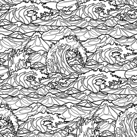 ocean storm: Ocean storm waves seamless pattern drawn in line art style. Tsunami. Coloring book page design Illustration