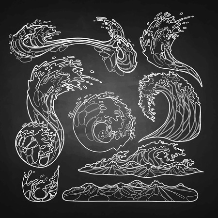 viscosity: Ocean storm waves collection drawn in line art style. Tsunami. Vector marine elements isolated on chalkboard