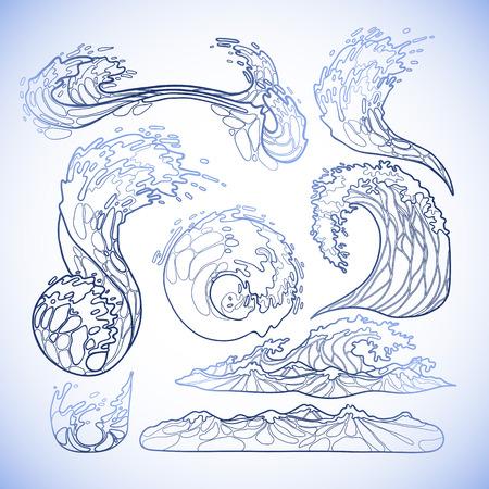 Océano colección de las olas de tormenta dibujado en línea estilo del arte. Tsunami. elementos marinos vector en colores azules aislados en el fondo blanco