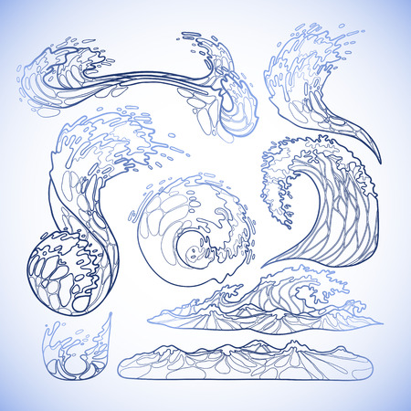ocean storm: Ocean storm waves collection drawn in line art style. Tsunami. Vector marine elements in blue colors isolated on white background Illustration