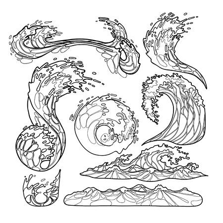 바다 폭풍 파도 컬렉션 라인 아트 스타일에 그려진. 쓰나미. 벡터 해양 요소 흰색 배경에 고립입니다. 색칠 공부 책 페이지 디자인