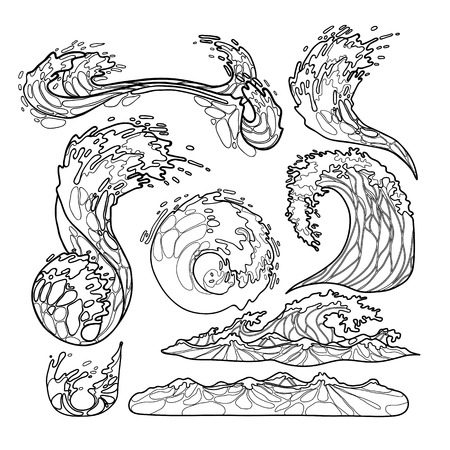 Ocean storm waves collection drawn in line art style. Tsunami. Vector marine elements isolated on white background. Coloring book page design 向量圖像