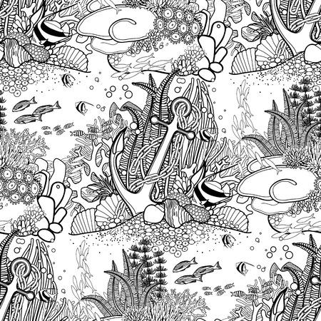 Anker en koraalrif getekend in lijn art stijl. Ocean naadloze patroon in zwart en wit kleuren. Kleurboek pagina design.
