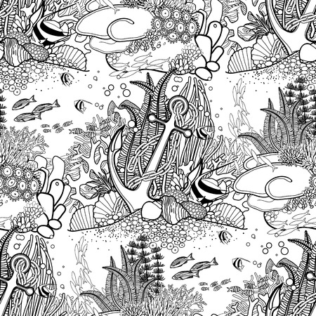 Anchor and coral reef drawn in line art style. Ocean seamless pattern in black and white colors. Coloring book page design.