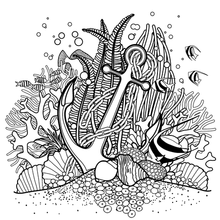 Anchor and coral reef drawn in line art style. Ocean fish and plants  isolated on white background. Coloring book page design.