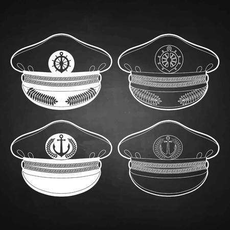 captain cap: Graphic captain cap drawn in line art style. Peakless cap. Nautical vector stuff isolated on chalkboard Illustration