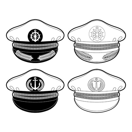 captain cap: Graphic captain cap drawn in line art style.  Peakless cap. Nautical vector stuff isolated on white background. Coloring book page design