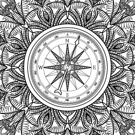 Graphic wind rose compass drawn in line art style. Nautical vector illustration. Coloring book page design