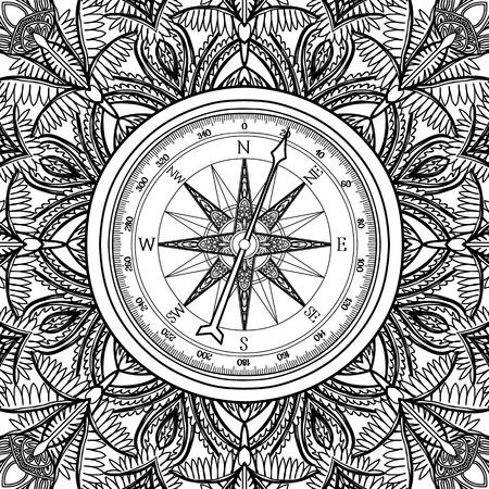rosa de los vientos: viento gráfico compás dibujados en el estilo de arte de línea levantó. ilustración vectorial náutico. diseño de páginas de libro para colorear