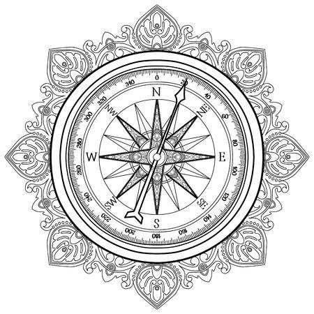 Graphic Windrose gezeichnet Kompass im Einklang Kunststil. Wasser Vektor-Illustration. Malbuch-Design
