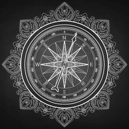 Graphic wind rose compass drawn in line art style. Nautical vector illustration isolated on chalkboard. Coloring book page design