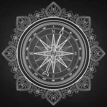 Vent graphique rose compass dessiné dans le style d'art en ligne. vecteur nautique illustration isolé sur tableau noir. conception Coloriage page du livre Banque d'images - 52755729