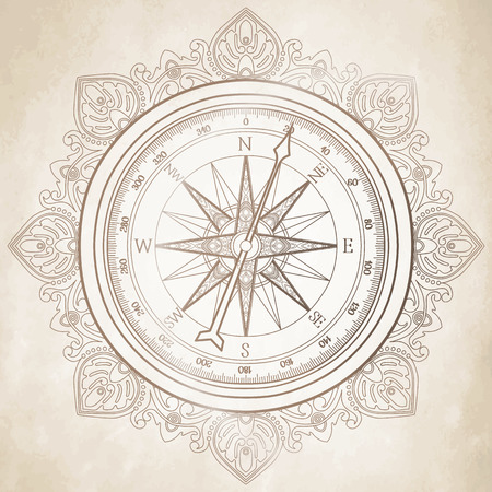 compass rose: Graphic wind rose compass drawn in line art style. Nautical  vector illustration isolated on old paper texture Illustration