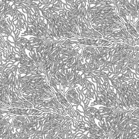 ocean plants: Coral seamless  pattern drawn in line art style. Ocean plants in black and white colors. Coloring book page design