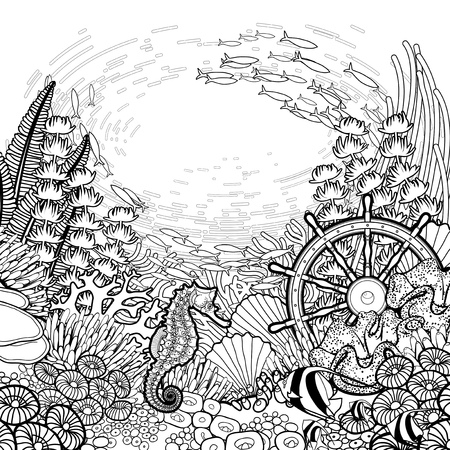 Graphic coral reef with sea horse ocean fish and sunken ship helm drawn in line art style. Marine vector card isolated on white background. Coloring book page design
