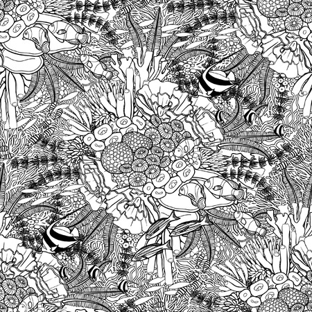 outline fish: Coral reef  in line art style on white background. Ocean plants and rocks in the seamless pattern. Coloring page design.