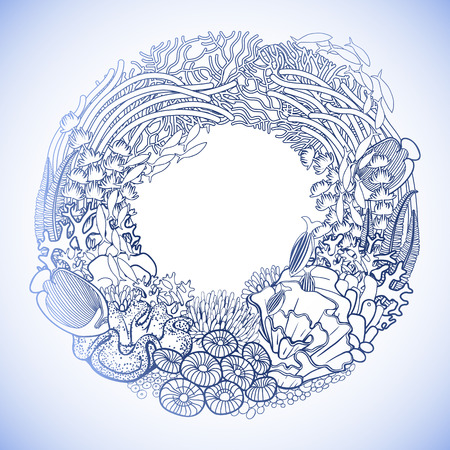 ocean plants: Coral reef drawn in a line art style. Marine wreath. Ocean plants and rocks in blue colors. Coloring book page design. Illustration