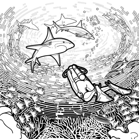 Gráfico rea de coral, los buzos y los tiburones bajo la superficie del agua del océano dibujado en el estilo de la línea de arte. ilustración vectorial marinos aislados sobre fondo blanco. diseño de páginas de libro para colorear