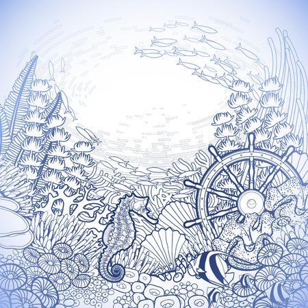 Grafisch koraalrif met zeepaardje oceaan vissen en gezonken schip roer getrokken lijn art stijl. Marine vector kaart in blauwe kleuren. Kleurboek pagina-ontwerp