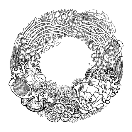 ocean plants: Coral reef drawn in a line art style. Marine wreath. Ocean plants and rocks isolated on white background. Coloring book page design.