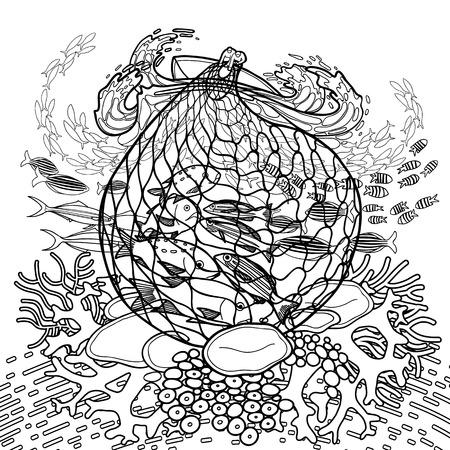 dessin au trait: Deux hommes sur le bateau en tirant le filet de pêche de la mer déchaînée. flore et la faune de l'océan. Vector illustration isolé sur fond blanc. conception Coloriage page du livre