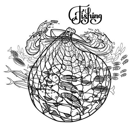 Zwei Männer auf dem Boot Herausziehen des Fischernetz aus dem tosenden Meer. Ozean Flora und Fauna. Vektor-Illustration auf weißem Hintergrund. Malbuch-Design