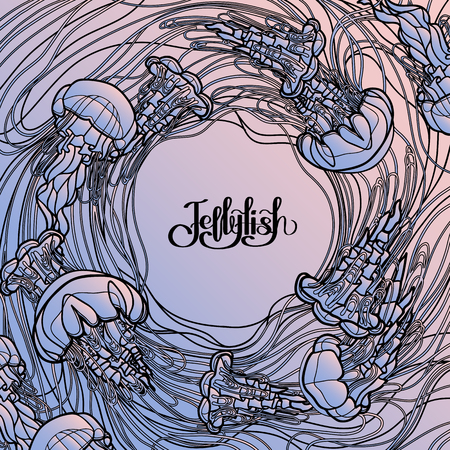 quartz: Swirl of jellyfish drawn in line art style. Ocean card in quartz and serenity colors